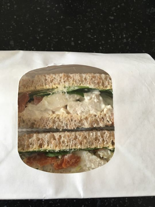 Chicken mayo and bacon salad sandwich