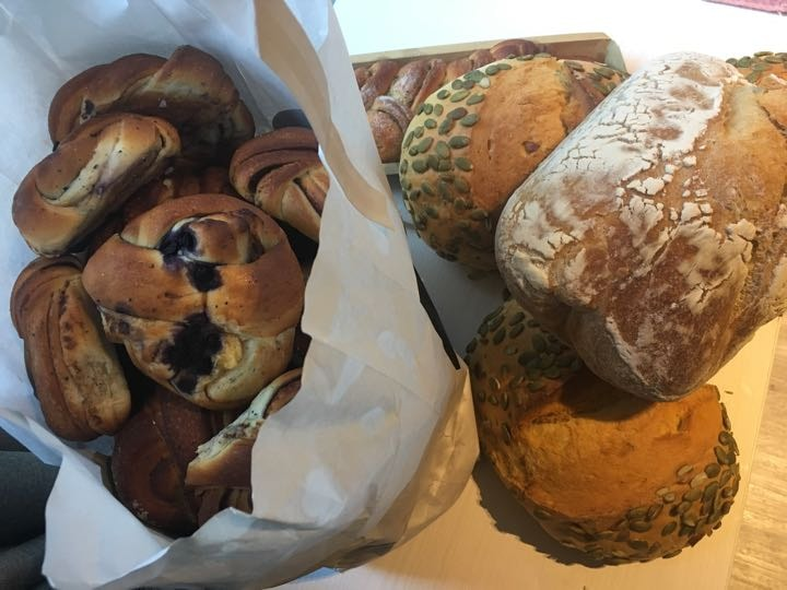 Four breads and cardamom buns