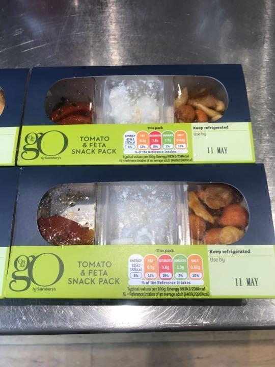 5x Sainsburys On the Go tomato and feta snack packs