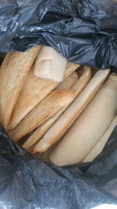 A huge bag of bread rolls from big j,  there was a problem when these were proved and the are very heavy and haven't risen,  so not sure if they are of use to anyone? Maybe as animal feed?