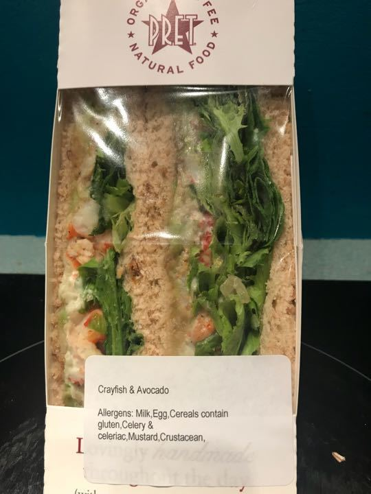 Pret Crayfish and Avocado Sandwich