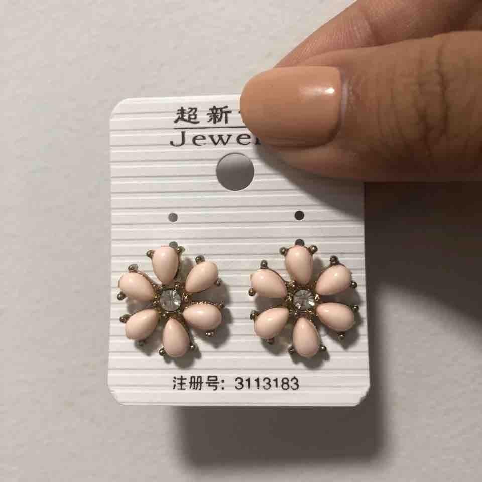 Pink Flower Ear Studs
