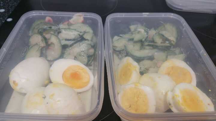 Cucumber salad and Boiled Egg
