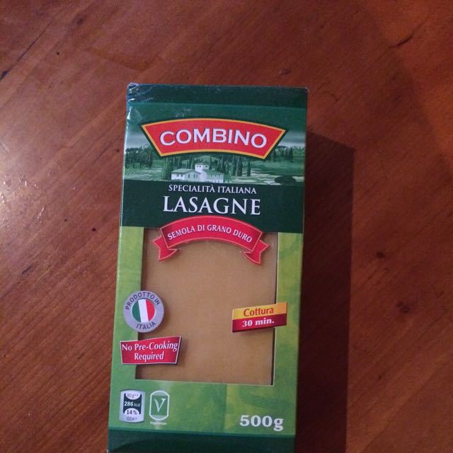 Unopened pack of lasagne sheets