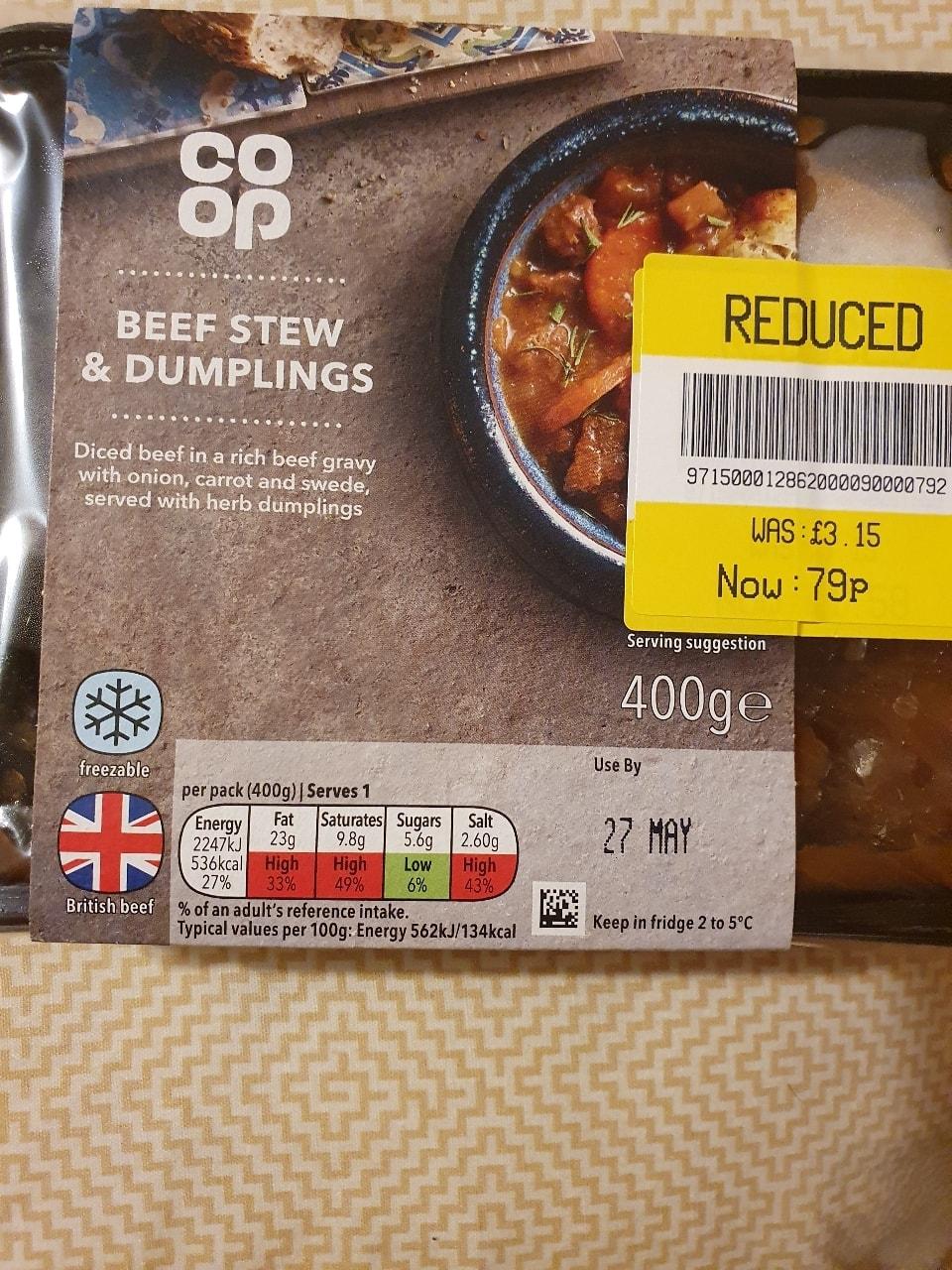 Beef stew and dumplings **now frozen**