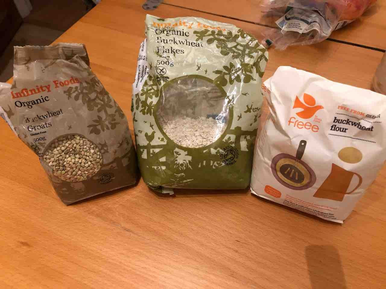 Buckwheat flour, flakes and groats