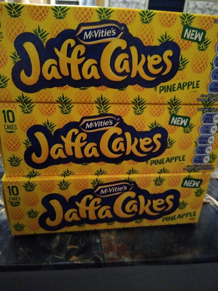 3 boxes of pineapple Jaffa cakes