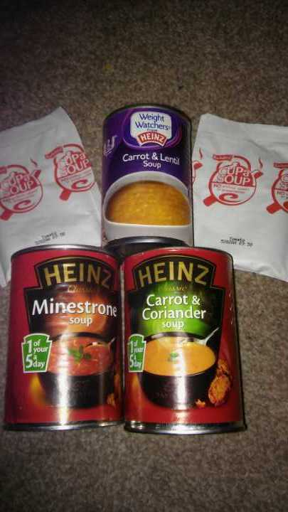 X3 tins of soup and 2 packs of cuppa soup