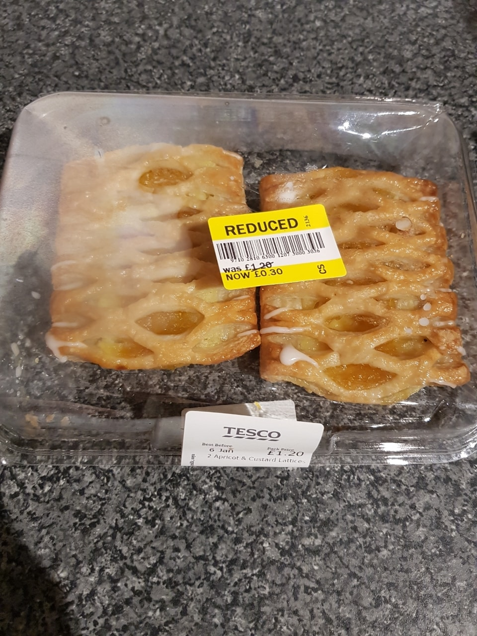 2 apricot and custard lattices
