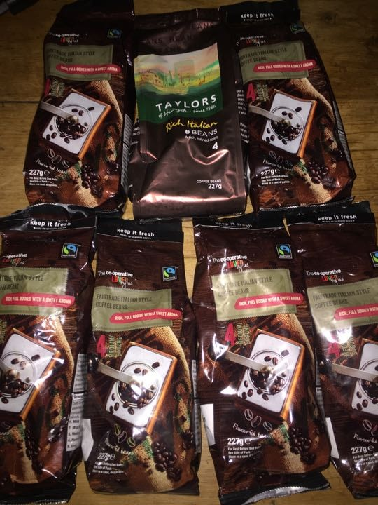 7 unopened bags whole coffee beans