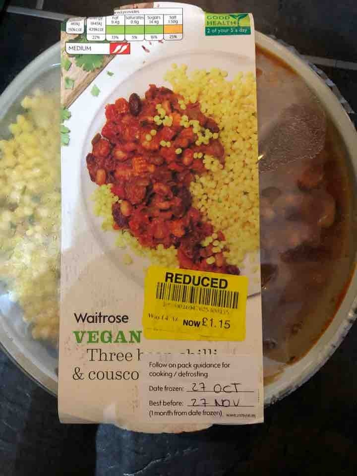 Vegan three bean chilli and cous cous