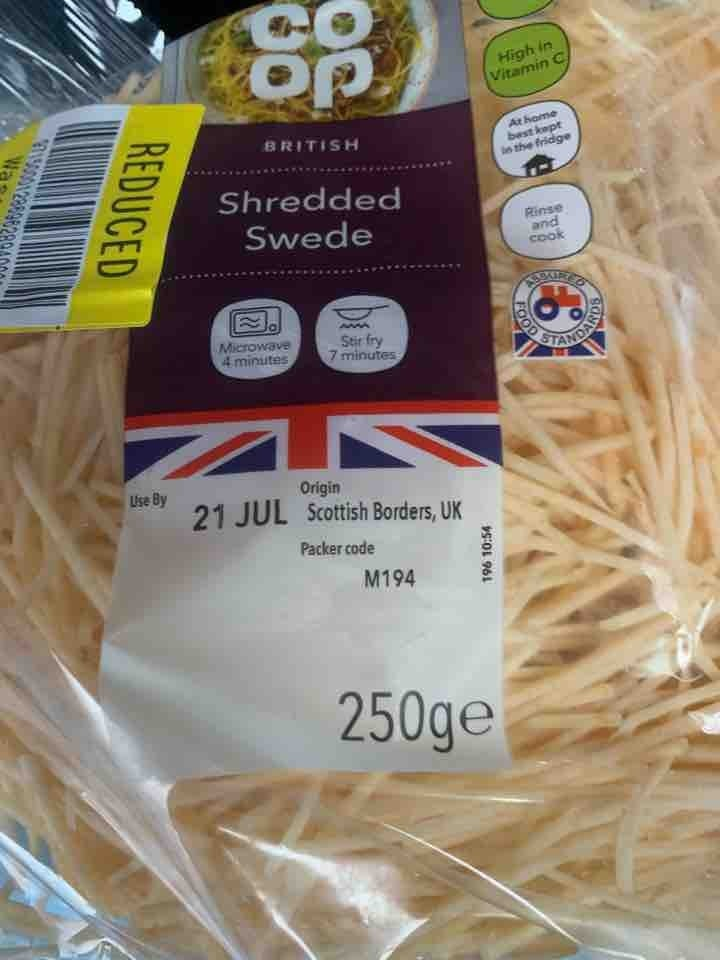 Shredded swede