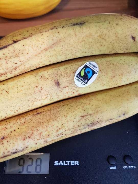 Ripe fair trade bananas