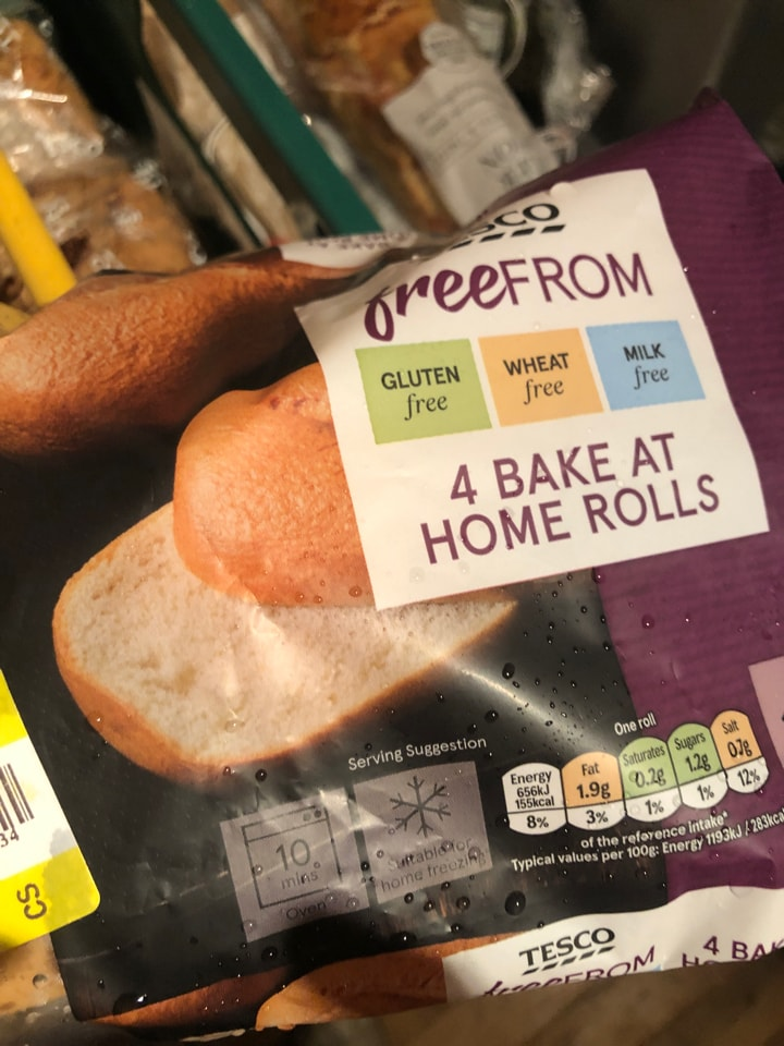 Tesco- free from bake at home rolls