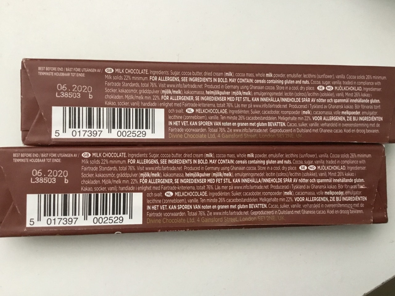 Divine Fairtrade Chocolate bars