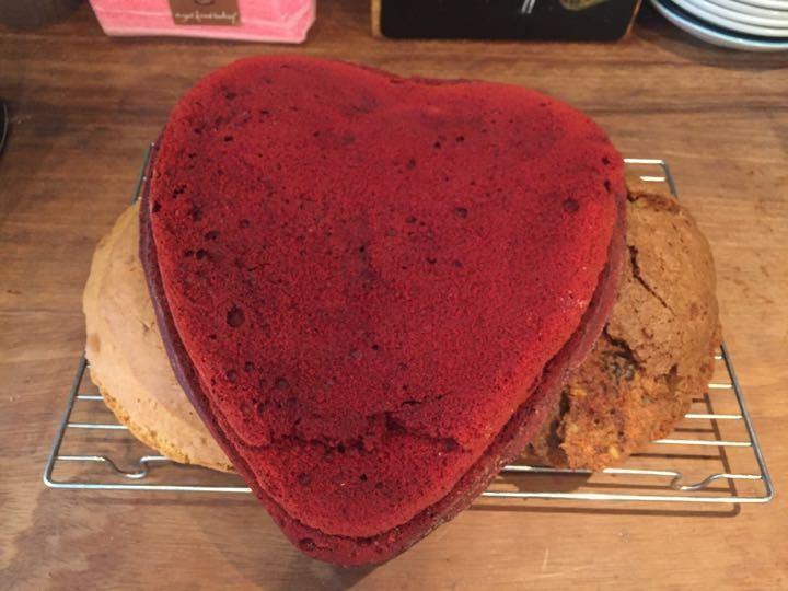 Cake scraps of red velvet cake, Bannana cake and carrot cake