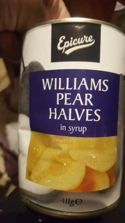 Pear halves in syrup