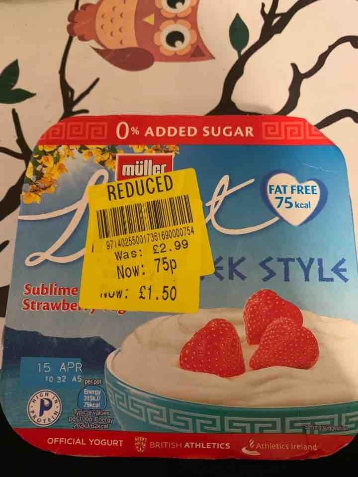 Muller Greek style strawberry yogurt