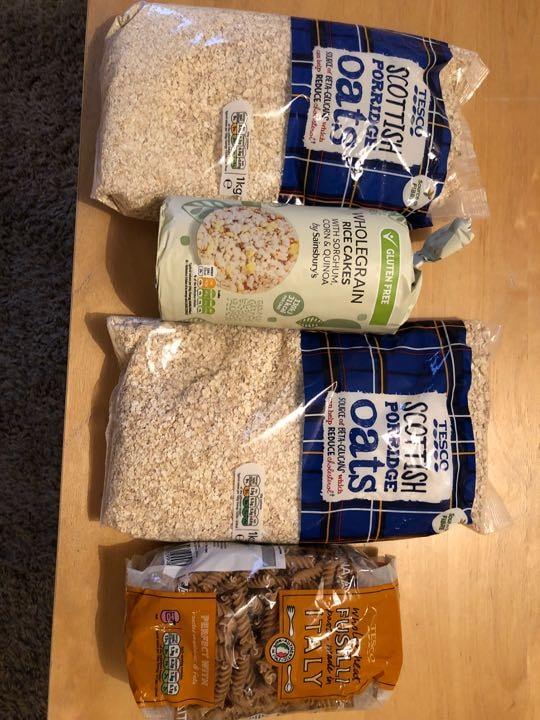 2kgs porridge oats, wholewheat pasta, whole grain rice cakes