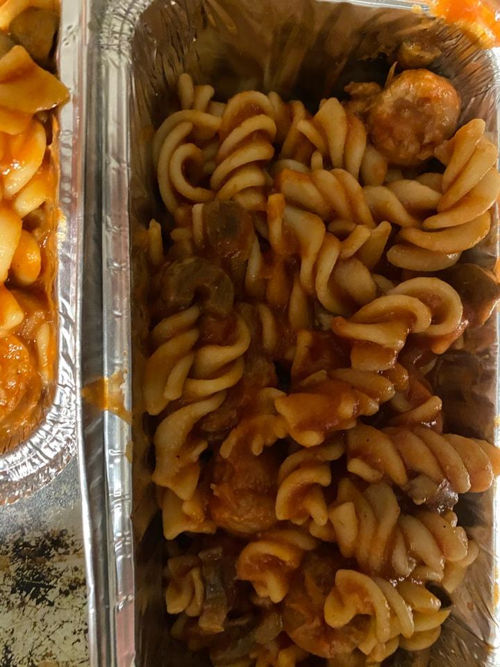 Pasta sausage with sauce