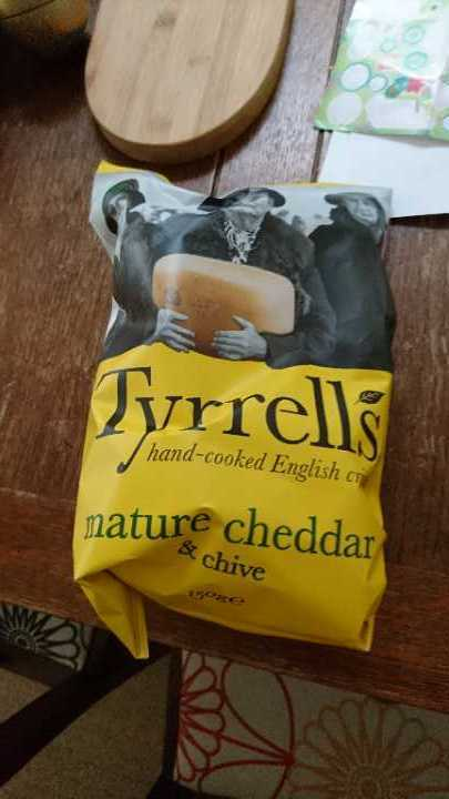 Tyrells cheddar and chive crisps