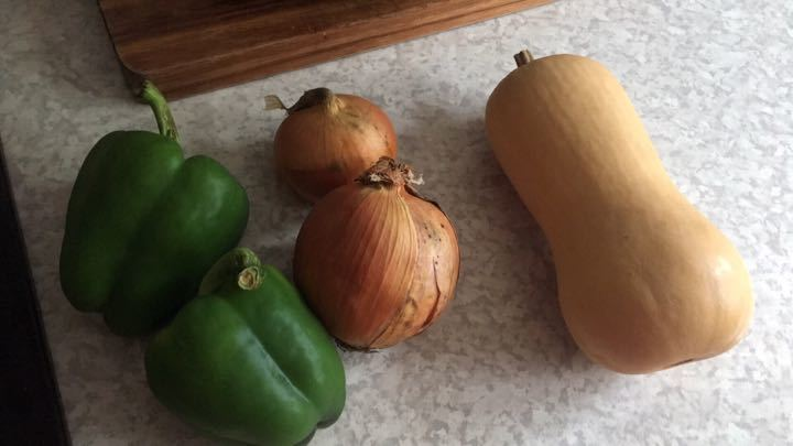 Butternut squash, 2 peppers and 2 onions