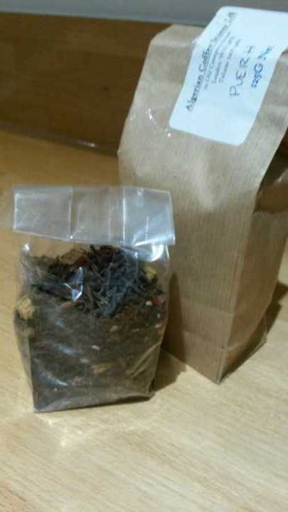Two packets of loose leaf puerh tea