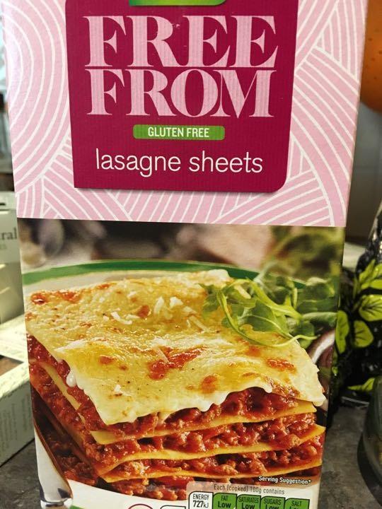 Free from gluten lasagna unopened