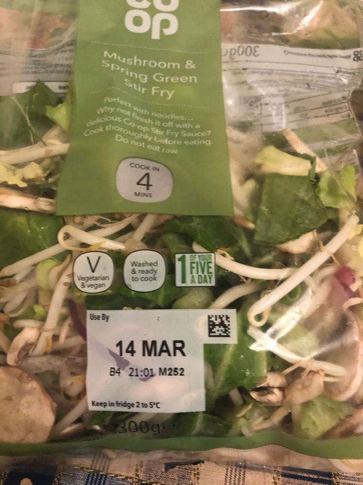 Mushroom & spring green stir fry