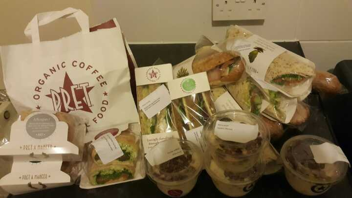 Various items from Pret A Manger