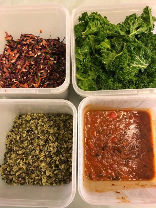 Rice, Coleslaw, Kale and Chilli!!! Very fresh from Deliciously Ella !