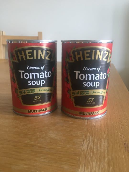 2 tins of Heinz Tomato Soup.