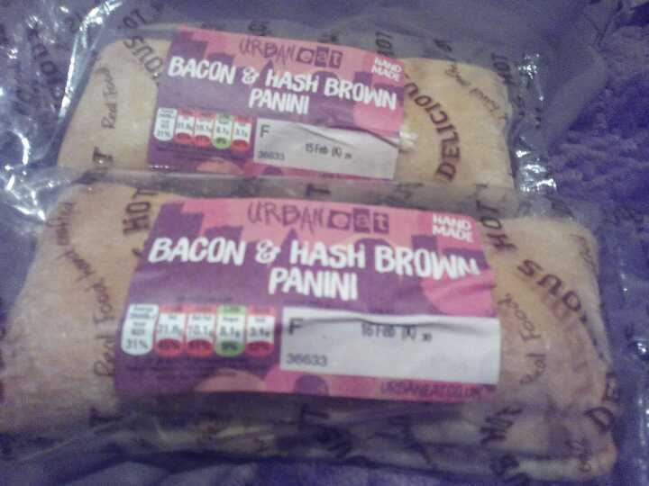 Two bacon and hash brown paninis
