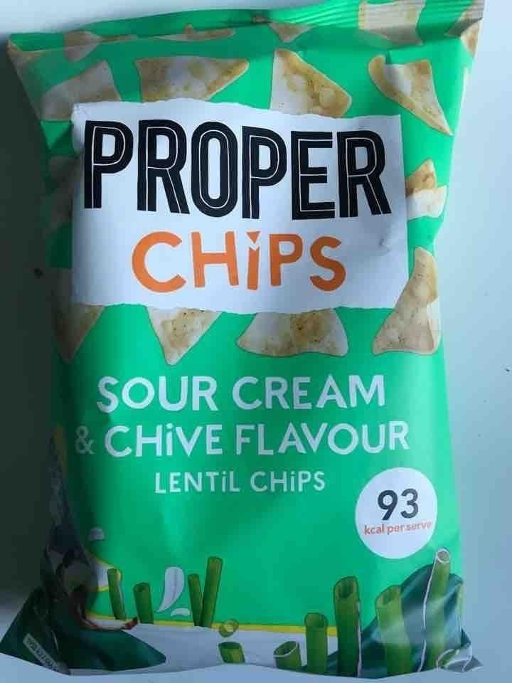 Proper Chips sour cream & chive flavour lentil chips