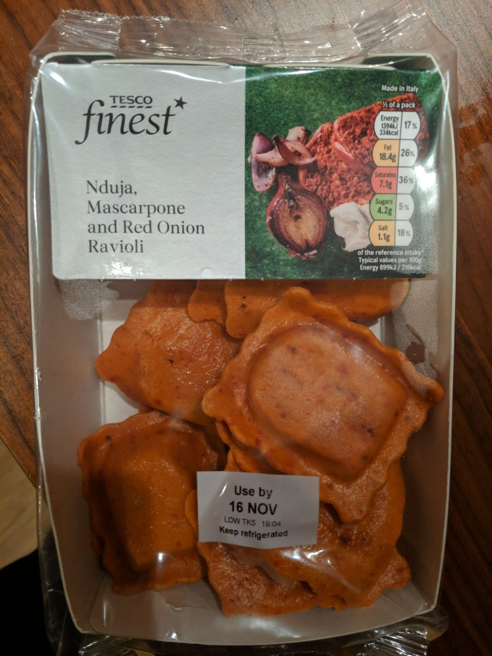 Nduja, mascarpone and red onion ravioli