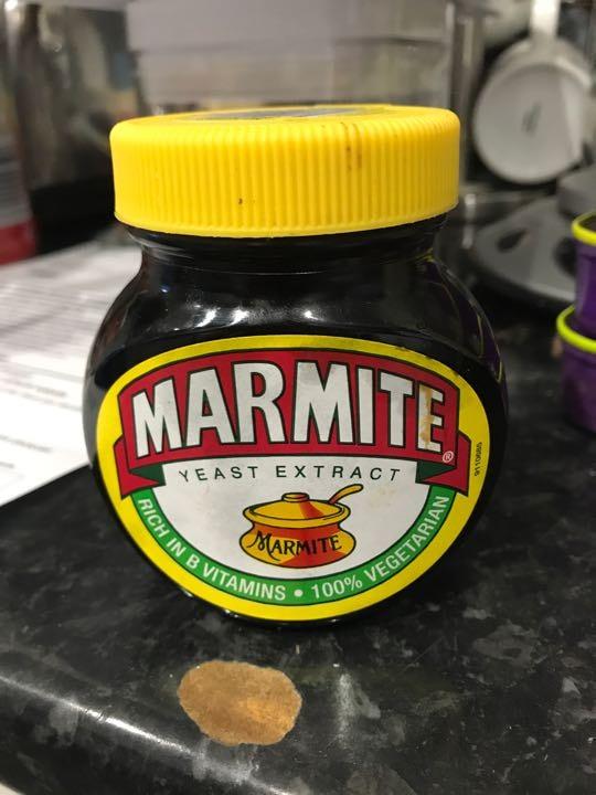 Opened jar of marmite