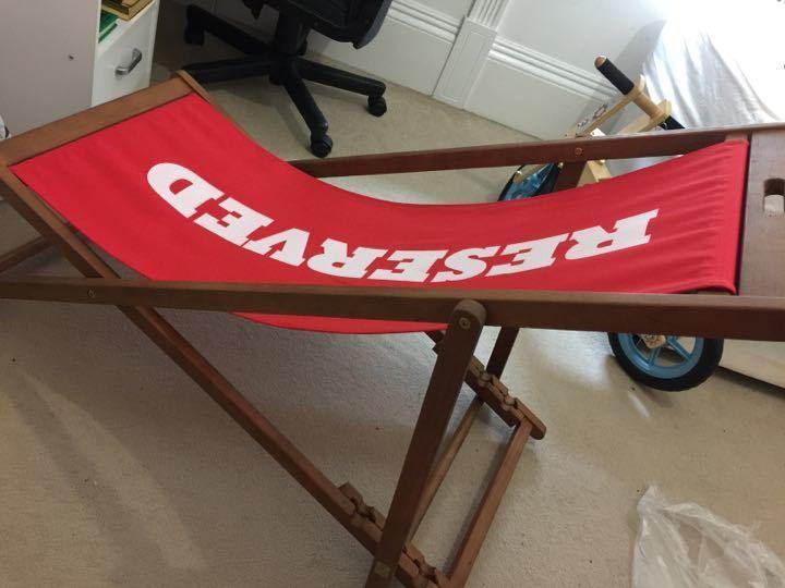 New wooden chair for garden or beach