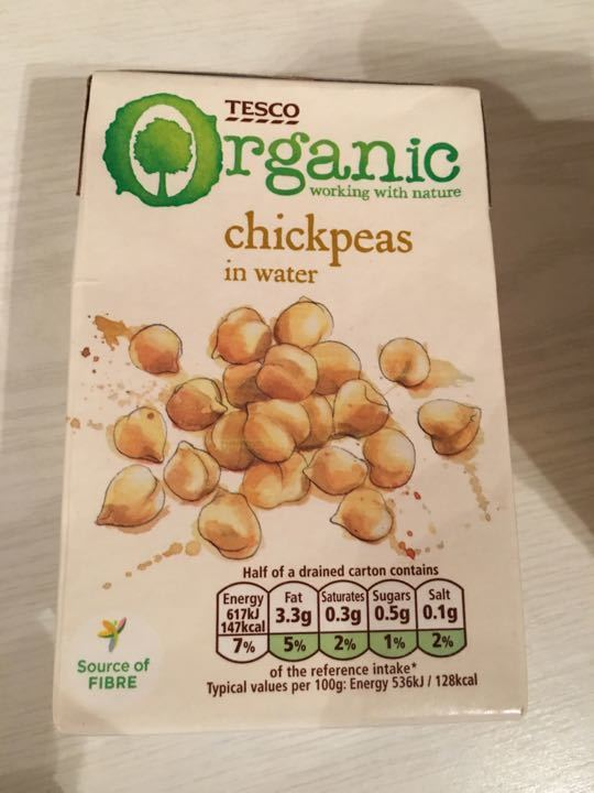 Tesco Organic chickpeas in water