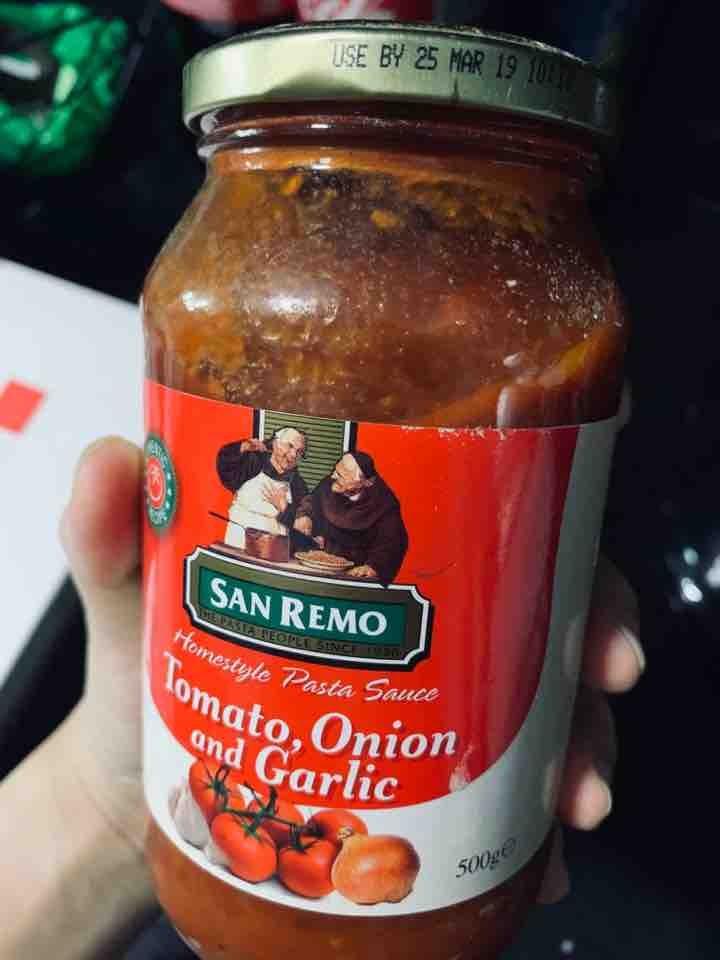 Expired unopened pasta sauce - tomato onion and garlic