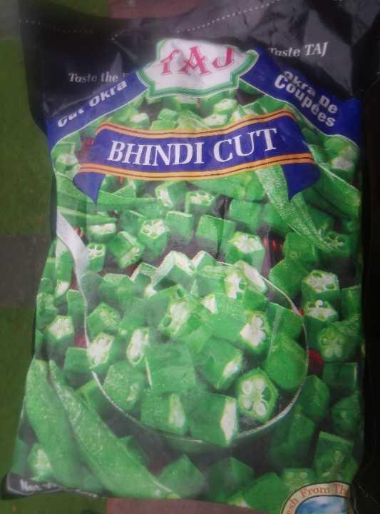 unopened big bag of frozen okra