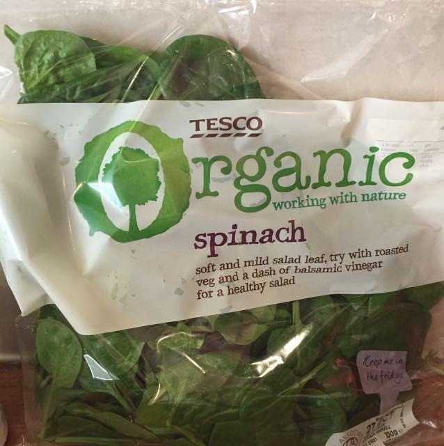 Organic bag of fresh spinach