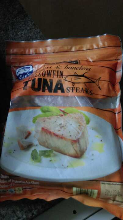 Frozen tuna steaks