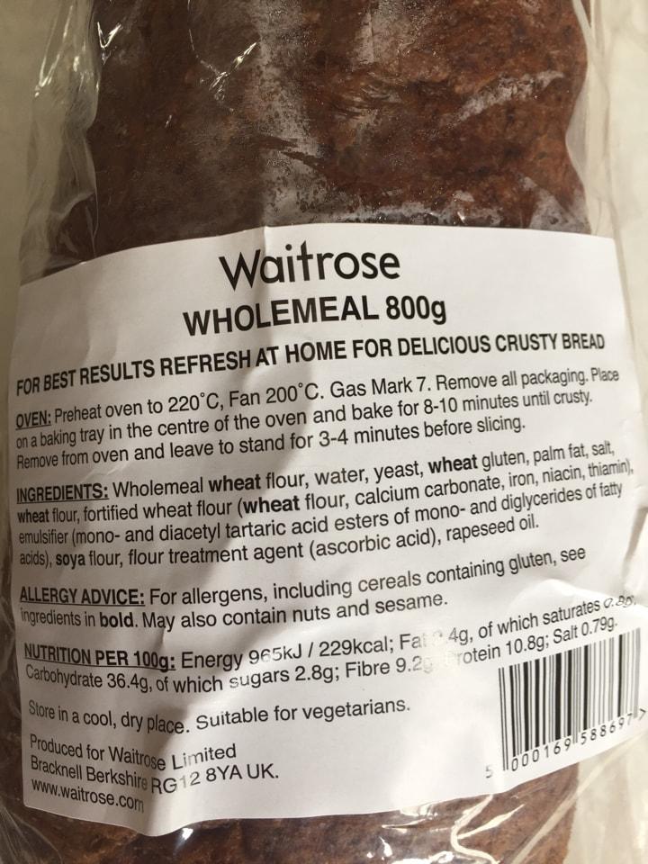 Waitrose wholemeal 800 g