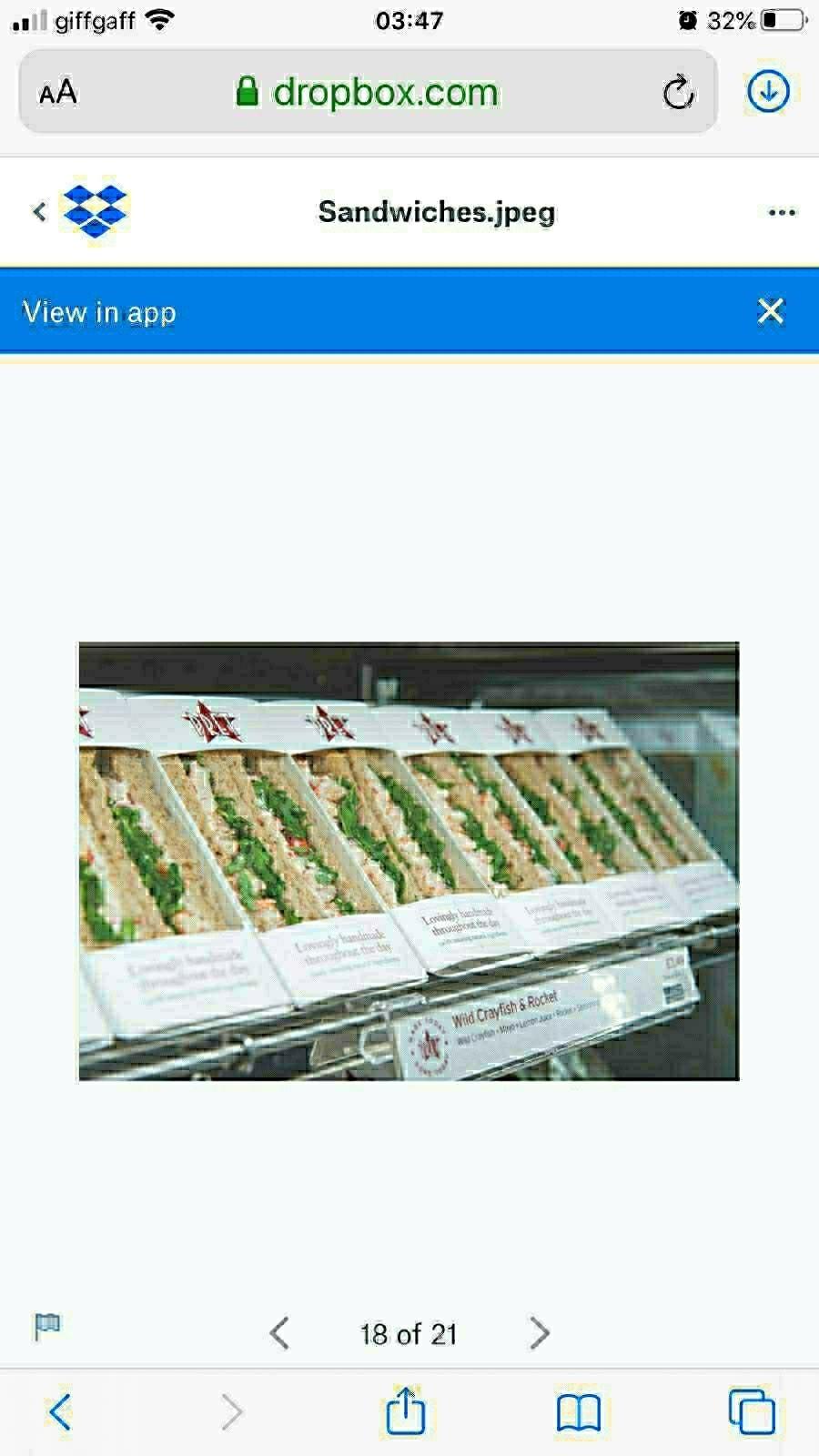 Pret chicken avocado sandwich