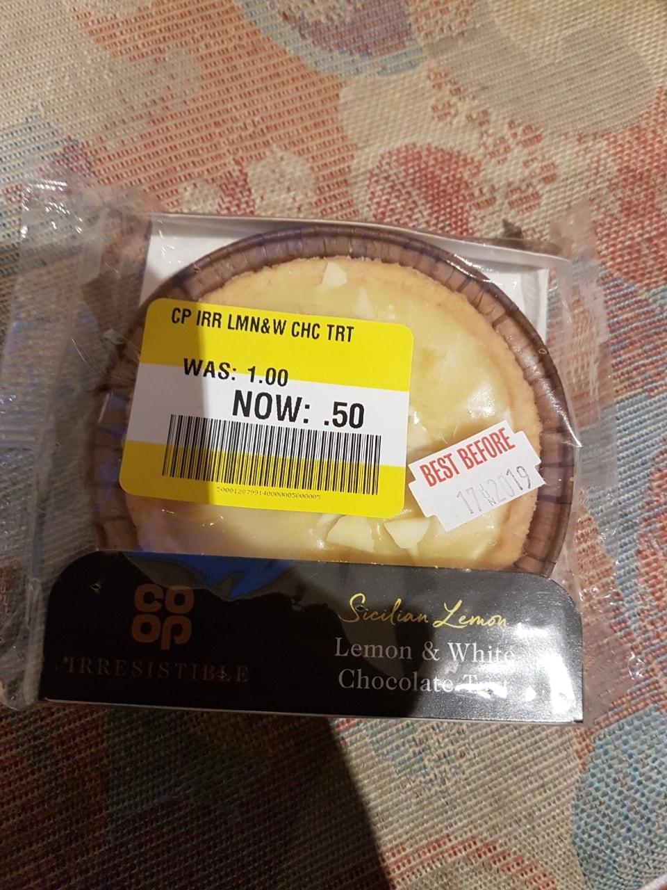 Lemon and white chocolate tart