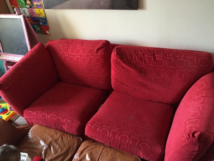 Free three seater sofa. Removable cushion covers will need a wash