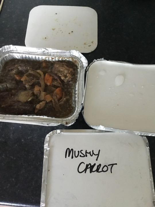 Two Portions of Steak Stew and portion of mashed Carrot and swede