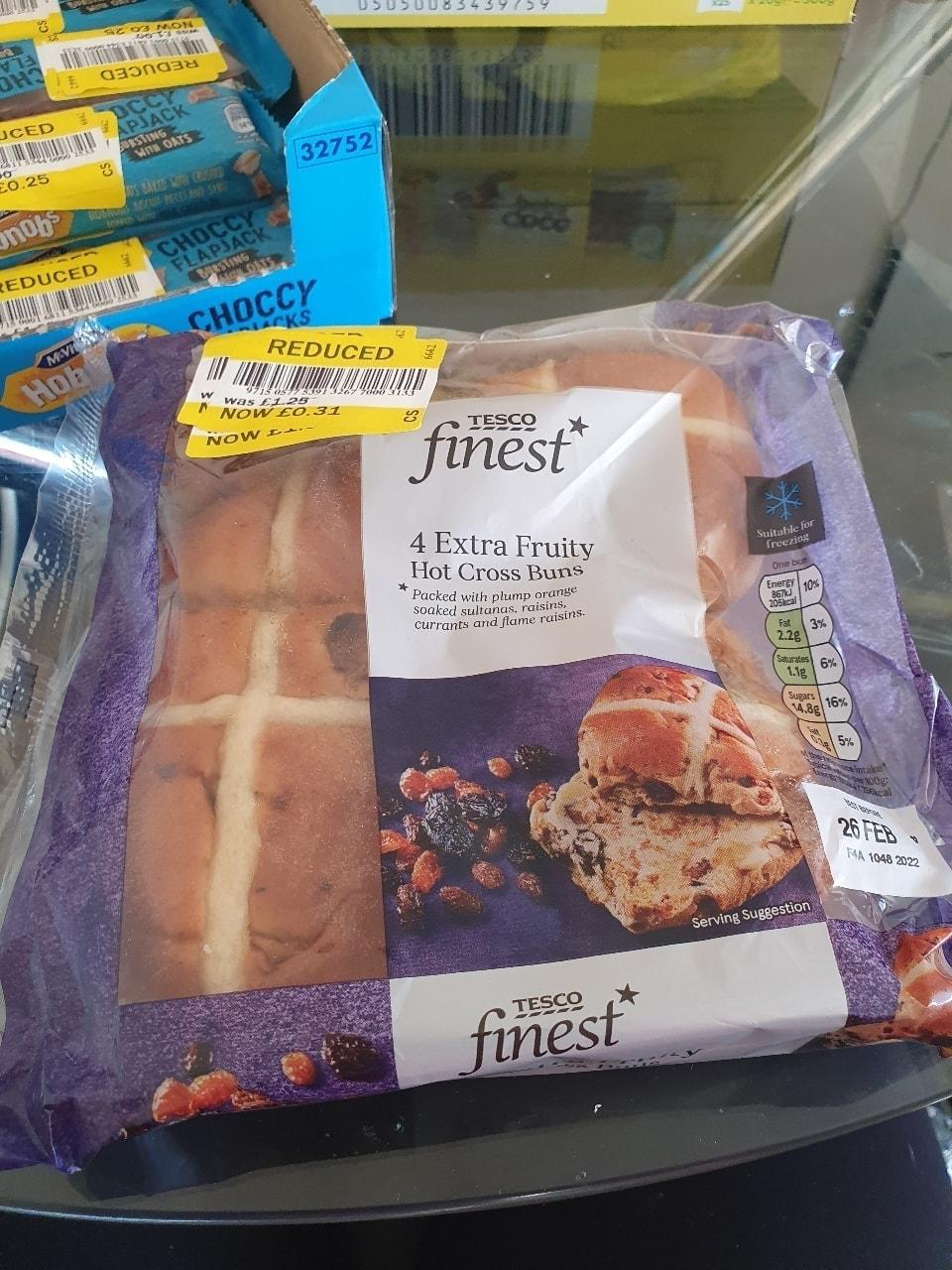 Tesco finest fruity hot cross buns