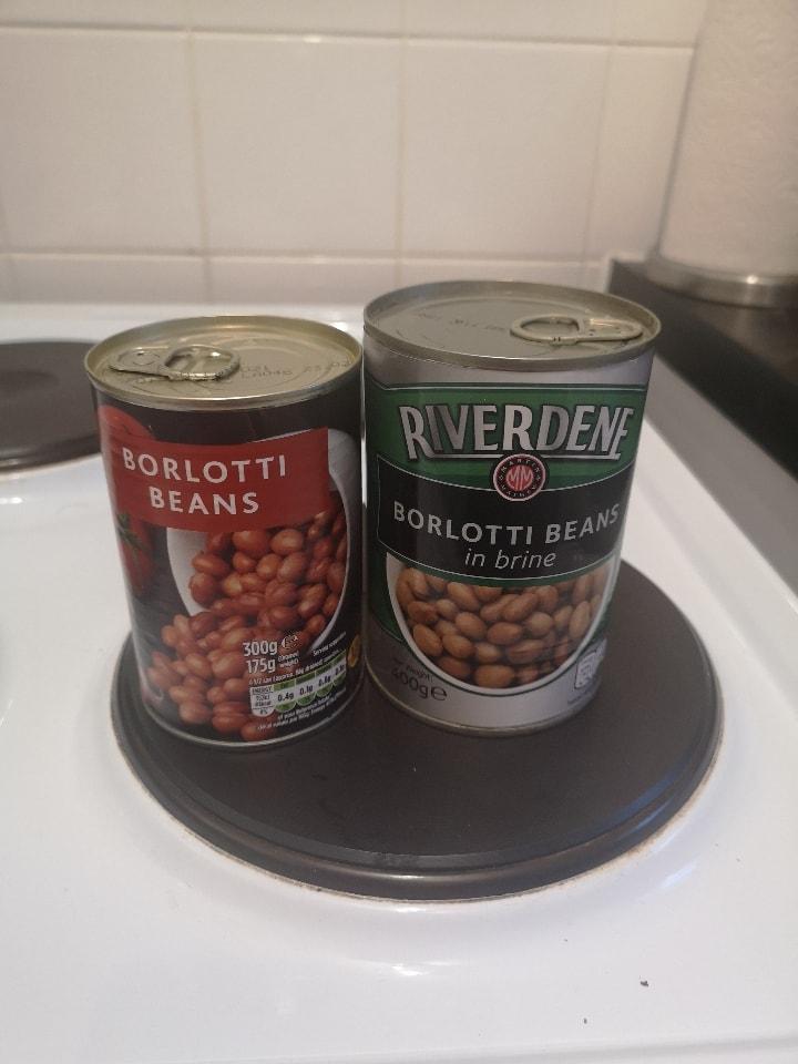 2 tins of borlotti beans