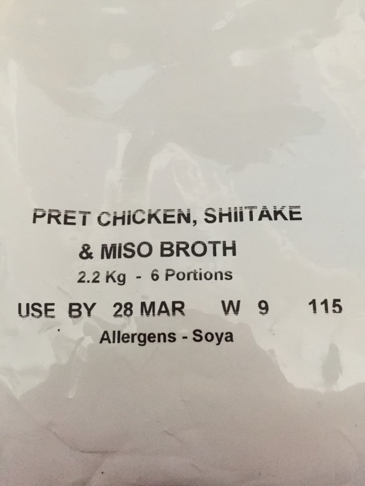Pret chicken shiitake miso broth catering pack